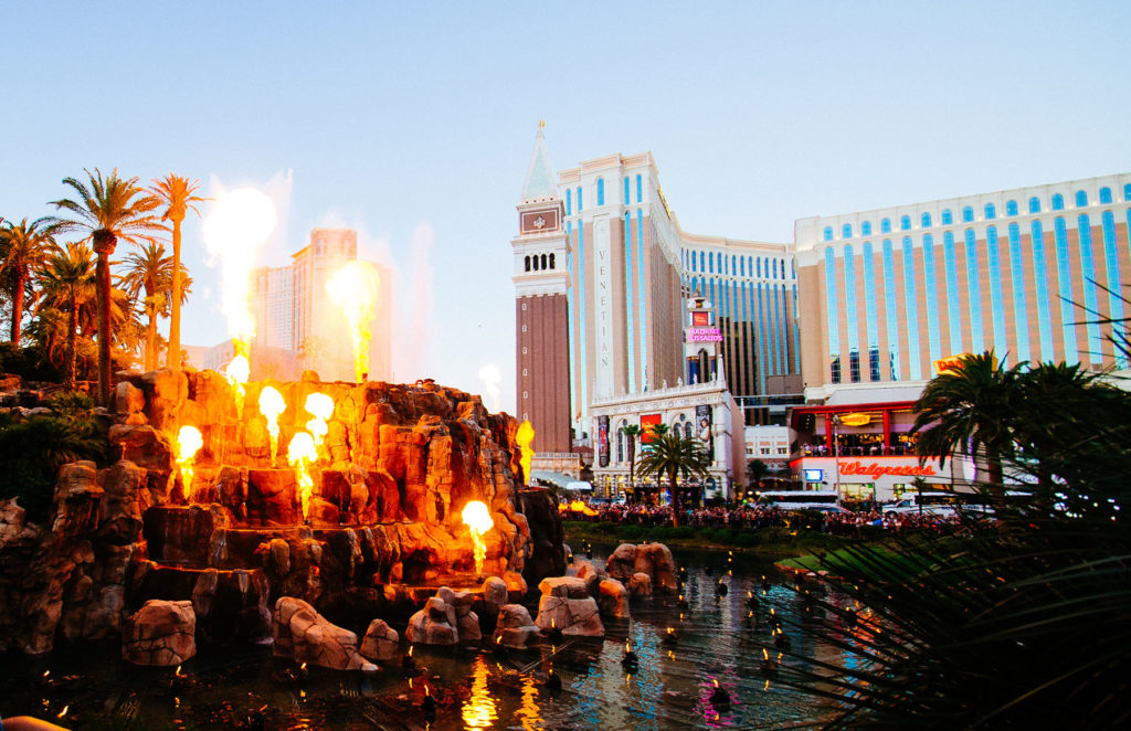 Be dazzled by the Mirage Volcano show.