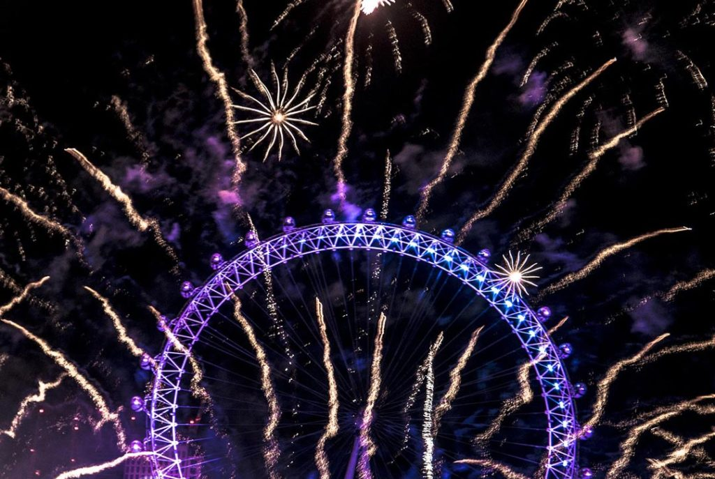 Fireworks behind the London Eye
